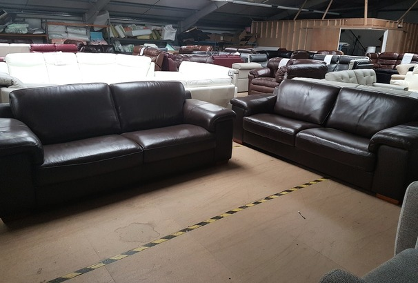 MADRID 3 SEATER AND 3 SEATER BROWN £1399 (SWANSEA SUPERSTORE)