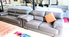 Rosa 3 seater and 2 seater mink hide £2399 (SWANSEA SUPERSTORE) - Click for more details