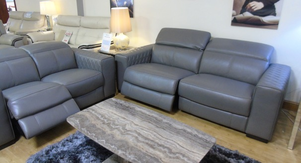 Sedan electric recliner 3 seater and 2 seater dark grey £3499 (SWANSEA SUPERSTORE)