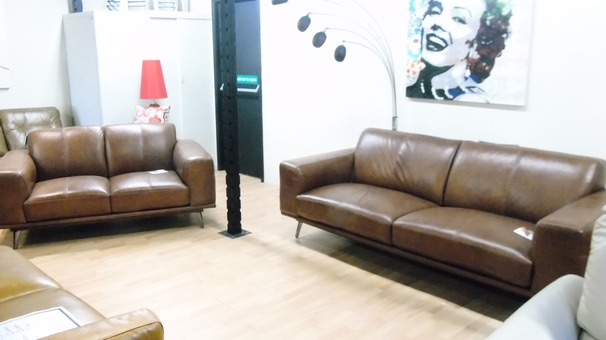Ronda 3 seater and 2 seater dark tan £2099 (SWANSEA SUPERSTORE)