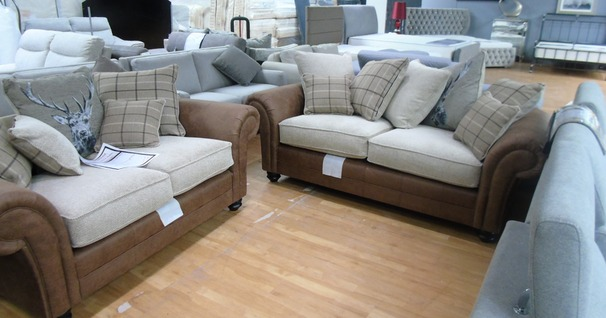 Darwin 3 seater and 2 seater brown/beige £1299 (SWANSEA SUPERSTORE)