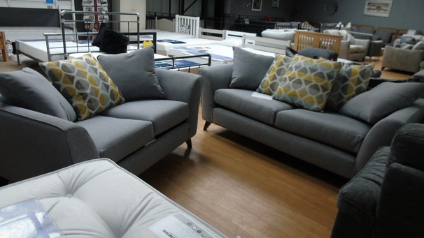 Hilton 3 seater and 2 seater grey scatter back £799 (SWANSEASUPERSTORE)