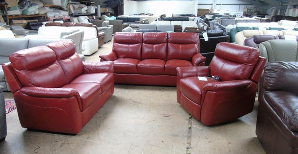 Brusssels 3 seater , 2 seater and electric recliner chair  Raspberry £2499 (SWANSEA SUPERSTORE)