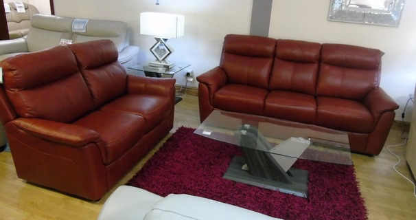 Brussels 3 Seater + 2 Seater in Miami Buffalo Red £1899 (SWANSEA LEATHER STORE)
