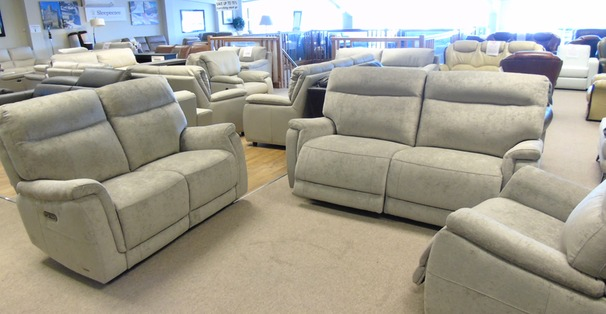 Granada electric recliner 3 seater and 2 seater grey fabric £1799 (CARDIFF SUPERSTORE)