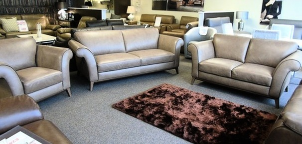 Lucca 3 seater, 2 seater and 1 chair taupe hide £3299 (SWANSEA SUPERSTORE)