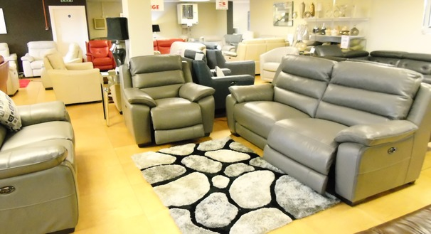 Charlotte   electric recliner 3 seater, 2 seater and chair grey £3199