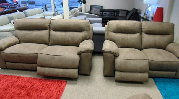 Rochelle electric recliner 3 seater and 2 seater tabac £1799 (CARDIFF SUPERSTORE)