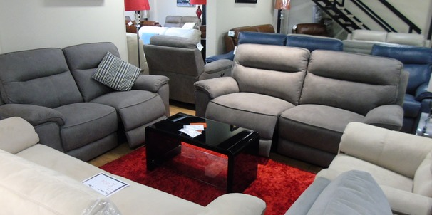 Rochelle electric recliner 3 seater and 2 seater mid grey £1799 (SWANSEA SUPERSTORE)