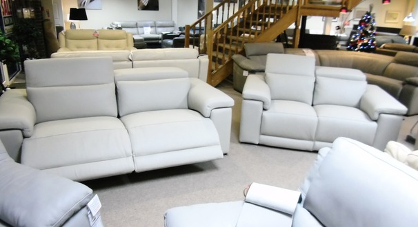 PALLINURO electric recliner 3 seater and 2 seater stone grey £3599 (CARDIFF SUPERSTORE)