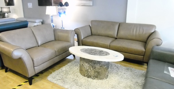 Lucca 3 seater and 2 seater dark beige £2799 (SWANSEA SUPERSTORE)
