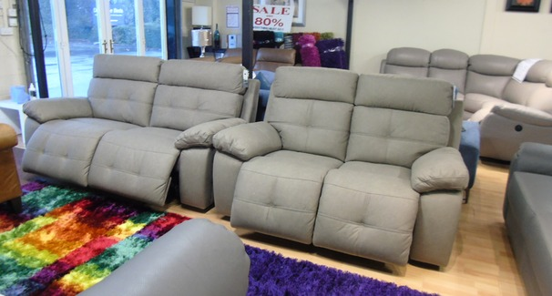 Sierra electric recliner 3 seater and 2 seater mid grey £1799 (SWANSEA SUPERSTORE)