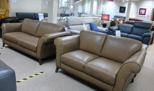 Lucca 3 seater and 2 seater dark beige £2799 (CARDIFF SUPERSTORE)