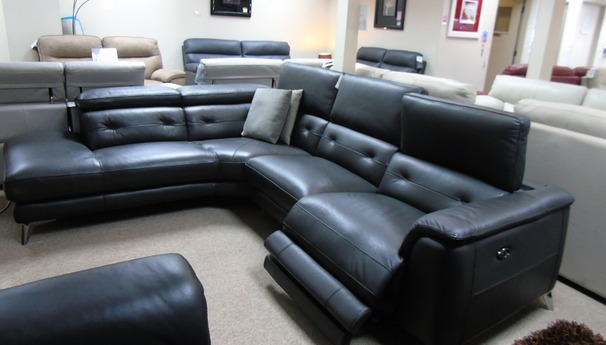 TOULON electric recliner corner suite charcoal grey £2799 (CARDIFF SUPERSTORE)
