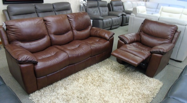 LILLE 3 seater and electric recliner power chair chestnut £1499 (SWANSEA SUPERSTORE)