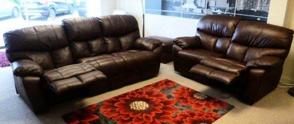 Pembroke recliner 3 seater and 2 seater mid brown £1999 (SWANSEA SUPERSTORE)