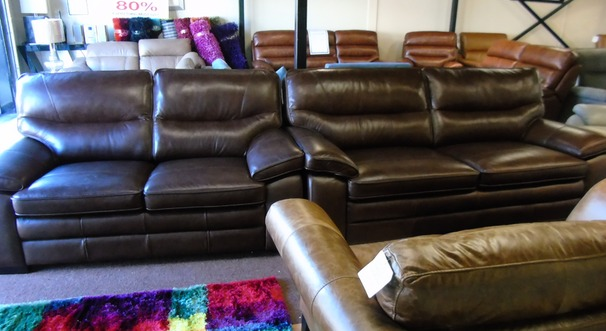 MELBOURNE 3 seater and 2 seater mid brown £1999 (SWANSEA SUPERSTORE)
