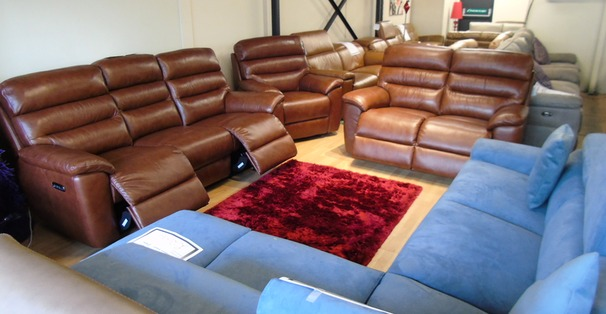 Perth electric recliner 3 seater and 2 seater mid tan £2299 (SWANSEA SUPERSTORE)